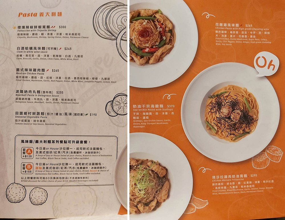 恰好食菜單menu-義大利麵